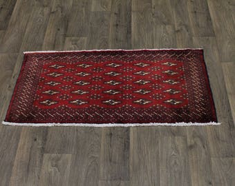 Small Entrance Vintage Tribal Red Turkoman Persian Rug Oriental Area Carpet 2X4