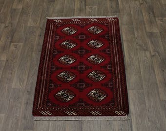 Genuine Small Handmade Ghoochan Turkoman Persian Area Rug Oriental Carpet 3X5