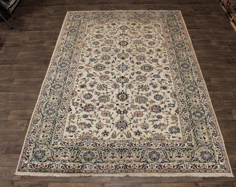 Elegant Allover Floral Design Kashan Persian Wool Rug Oriental Area Carpet 8X12