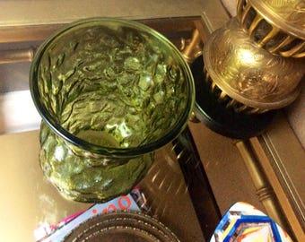 Vintage E.O. Brody Green Crinkled Vase