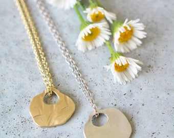 14k gold casual hammered chain,14k gold necklace,14k gold hammered pendant necklace,14k gold delicate handmade pendant chain