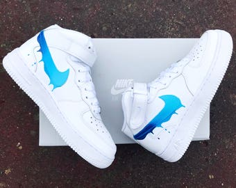 Faded blue drippy nike Air Force one
