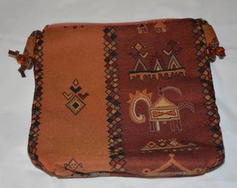 Indian Pattern Shoulder Bag with leather strap