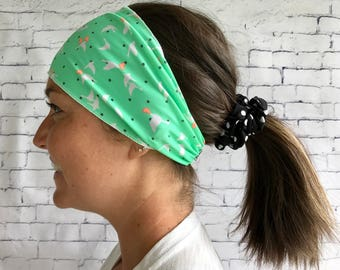 Sports hair band Green Apple with birds
