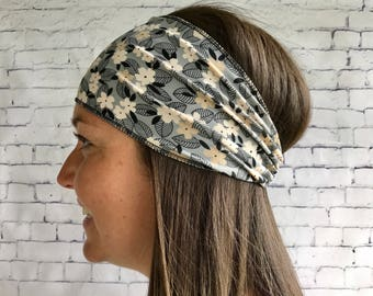 Headband sport grey flowery beige