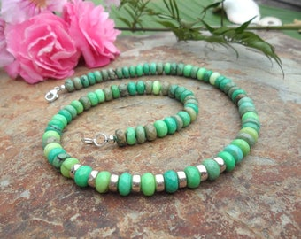 Collier Chrysoprase & silver, gemstone necklace