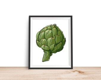 Artichoke Print - 8x10 Printable, Kitchen Wall Art, Kitchen Print, Kitchen Decor, Food Print, 8x10 Print, Garden Print, Vegetable Print