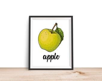 Apple Print - 8x10 Printable, Kitchen Wall Art, Kitchen Print, Kitchen Decor, Food Print, 8x10 Print, Garden Print, Apple Printable