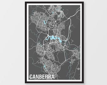 Canberra Map Print  - Two-tone / Australian Capital Territory / Various Colours / Australia / City Print / Australian Map / Art Prints