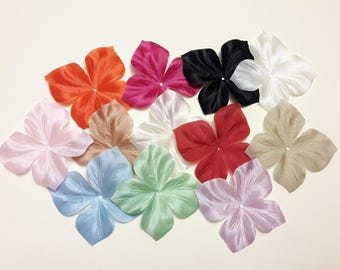 Satin flowers with silk variegated color for jewelry, wedding, scrapbooking, sewing, decoration