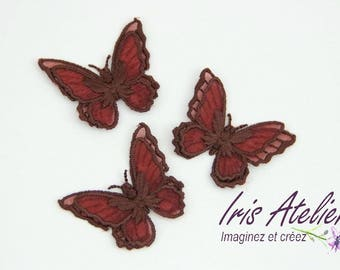 Brown double wings embroidered organza Butterfly individually
