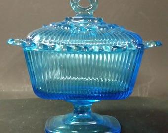 Vintage blue rectangular pedestal candy dish, lidded