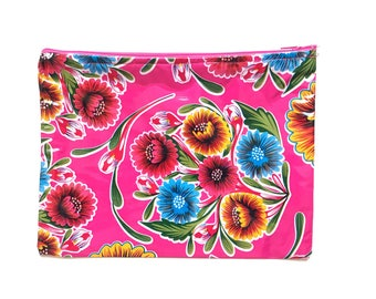 Oil cloth clutch, Oil cloth bag, Oil cloth pouch, Mexican wallet, Wallet cloth, Oil cloth zipper pouch, Zipper cosmetic oil cloth,