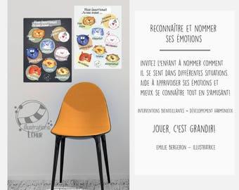 Affiche Décalque mural adhésif Affiches éducatives, ÉMOTIONS, météo et couleurs :)