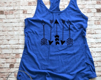 Tribal Arrows Racerback Gym Shirt, Yoga Tank Top, Running Tank Arrow Shirt, Crossfit Tank or Runners Top, Find Your Arrow Ladies Tank Top