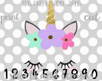 Unicorn svg, girls birthday SVG, birthday, 1st, 2nd, 3rd, 4th, 5th, 6th, 7th, 8th, 9th, 10th, svg, dxf, eps, party, unicorn, birthday, shirt