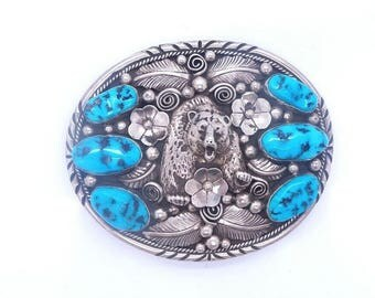 Native American Navajo Handmade Sterling Silver Sleeping Beauty Nugget Turquoise Bear Buckle