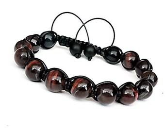 Red Tiger Eye Men Bracelet, Mens Gift , Mens Bracelet, Gift for Men, Men Gemstone Bracelet, Bracelet for Men, Men's Red Tiger Eye,Protection