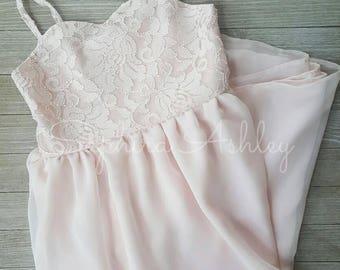 Blush Lace & Chiffon Sweatheart Bodice Sheath Flower Girl Dress, Girls Blush Flower Girl Dress, Blush Sweatheart Lace and Chiffon Dress