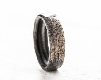 Recycled Ring half Bentwood, Wooden Ring, Wedding ring Waterproof