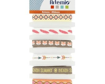 Set of 6 Indian ribbons - Artemio - Ribbon feathers - Fox Ribbon