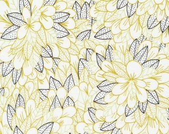 "2yd 17"" x44"" End of Bolt ORGANIC Voile Cotton Fabric Blomma in Citron from Cloud9 Fabrics Kindred collection by Lisa Congdon, Apparel Fabric"
