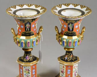 PAIR antique French vieux paris porcelain hand paint vases 1900