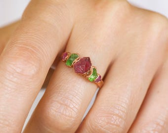 READY TO SHIP. Copper Electroformed Natural Rough Green Mali Garnet Pink Sapphire and Ruby Stackable Gemstone Ring.