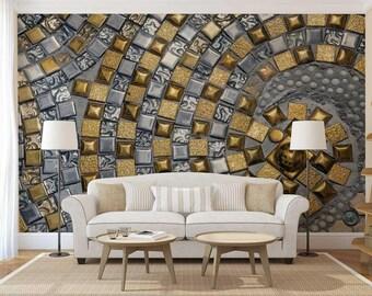 Wall Mural Abstract, Abstract Wallpaper, Wall Decal Gold, Silver Wall Mural