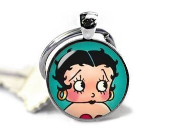 Betty Boop Key Ring Betty Boop Keychain Rockabilly Keychain Comic Pinup Keyfob
