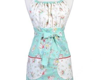 Womens Retro Kitchen Apron Vintage Rabbit Dear Little World Little Bunny Vintage Style with Lined Pocket and Fitted Bodice Top