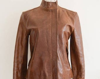 SALE 25% OFF Vintage French Connection Ladies Leather Tan Brown Jacket, Size 10, 2 Front Pockets, Womens Jacket