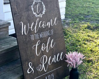 Wood Welcome Sign - Rustic Wedding Sign - Wedding Welcome Sign - Welcome To Our Wedding Sign - Custom Wedding Signs - Woodsy Wedding