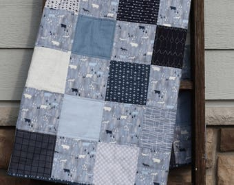 Modern Baby Quilt, Woodland, Patchwork, Quilted blanket, Baby Shower Gift, Gender neutral, Deer, foxes, Navy, blues, grays, white