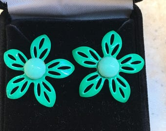 Retro 1960's Groovy Teal Enamel Flower Earrings - converted from clip-on to pierced