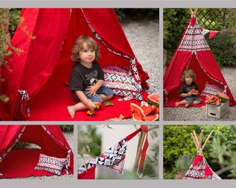 Tepee Kid's Tent Wigwam Tipi Handmade Natural Cotton with Padded Mat, Bunting and Two Cushions. Folding poles and a bag included