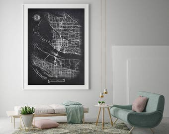 VANCOUVER Washington Chalkboard Map Art Black And White Vancouver WA Vintage City Graphic Detailed Scheme