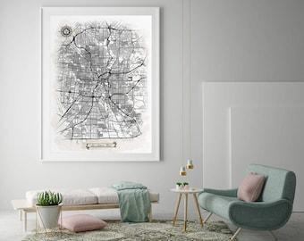 SAN ANTONIO Texas Watercolor Map Art Black Ink And Light Watercolor San  Antonio TX Vintage City