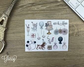 Birthday Wishes Deco Planner Stickers