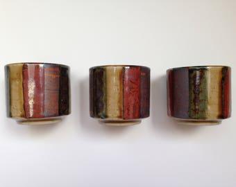 Three OMC Japan yunomi style colourful teacups.