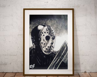 Jason Voorhees Friday the 13th Horror Movie Pop Culture Wall Art Print