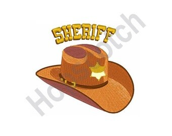 Sheriff Cowboy Hat - Machine Embroidery Design, Sheriff, Cowboy Hat