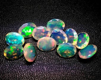 1pcs 6x8mm Ethiopian Opal Faceted Oval Loose Gemstone - Ethiopian Welo Opal Faceted Oval Multi Fire Opals Calibrated Size Opals Oval Gems
