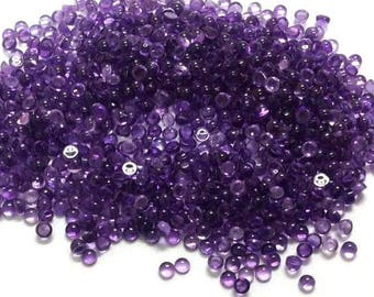 100 piece 3mm Purple Round Amethyst Cabochons - 100% Natural Amethyst Gemstone - 3mm Round Amethyst Cabochon- Purple Amethyst Cabochon Round