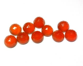 10 pieces 3mm Carnelian Round Rose Cut gemstone, Orange Carnelian RoseCut Round Cabochon Gemstone Carnelian Rose Cut Cabochon Round Gemstone