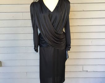 Black 1920s Inspired Dress Size 10 with Silver and Black Sequin and Beads from 1980s by Variations Ltd.