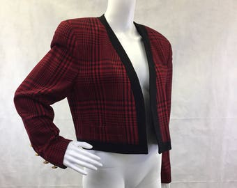 Plaid 1990s Bolero with Gold buttons | Cropped Jacket | Paul Stanley | Size 10 | 90's Grunge | Short Jacket | Punk