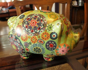 Large Ceramic Piggy Bank with Patchwork Mandala Art Designs