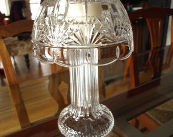 Tall Pillar Crystal Votive Candle Hurricane Lamp with Shade