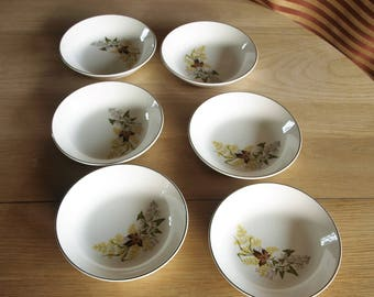 Vintage White Ceramic Bowls (4) with Fall Foliage Pattern / Design and Gold Trim